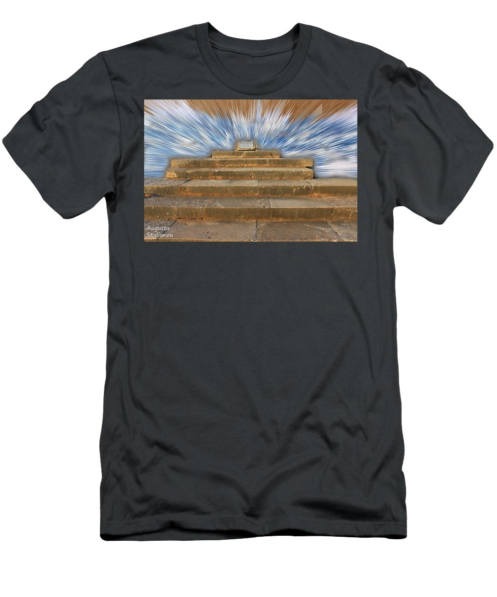 Augusta Stylianou Men's T-Shirt (Athletic Fit) featuring the digital art Display Hall At Temple Of Apollo Hylates by Augusta Stylianou