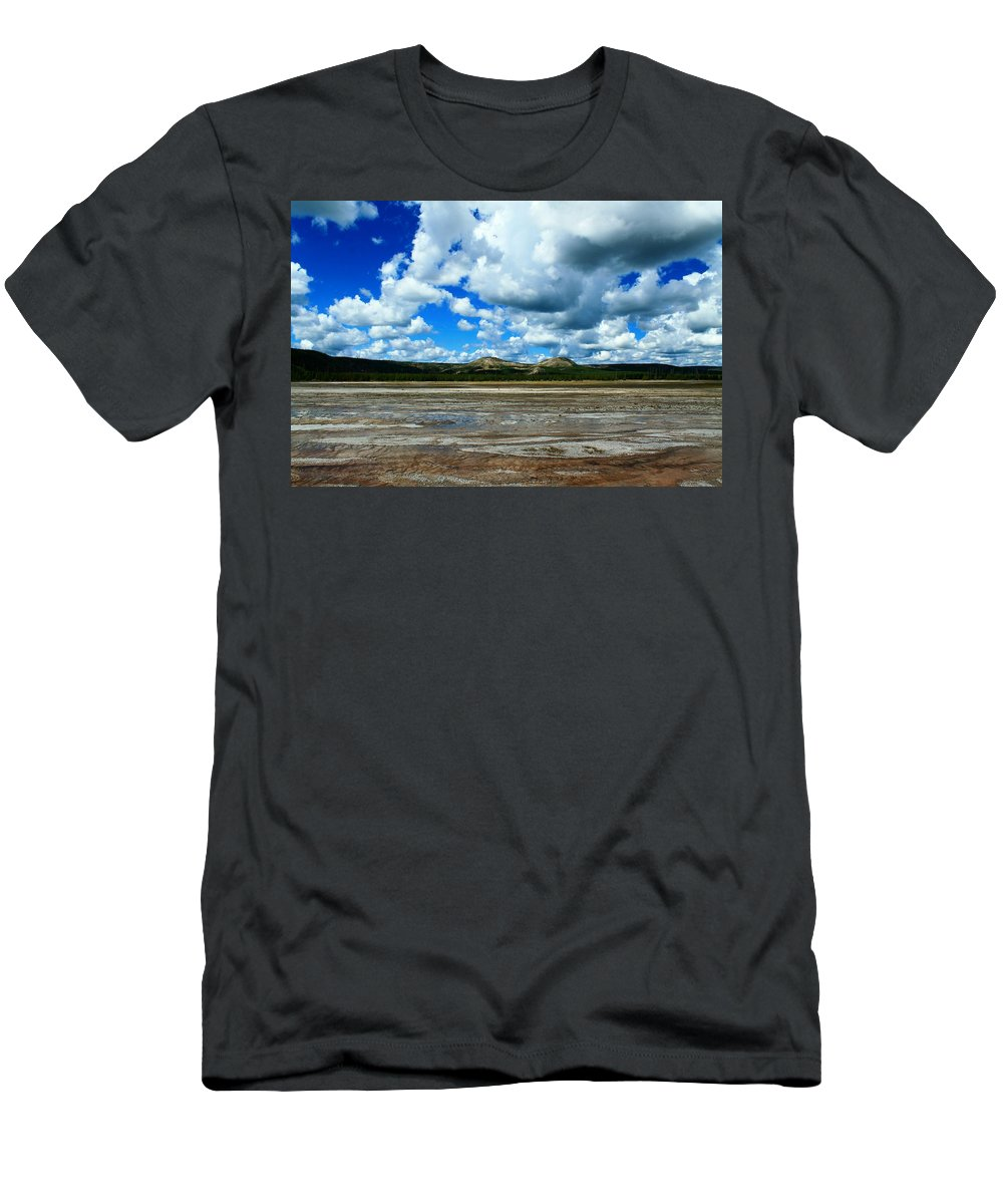 Yellowstone National Park Men's T-Shirt (Athletic Fit) featuring the photograph Distant Hot Springs by Catie Canetti