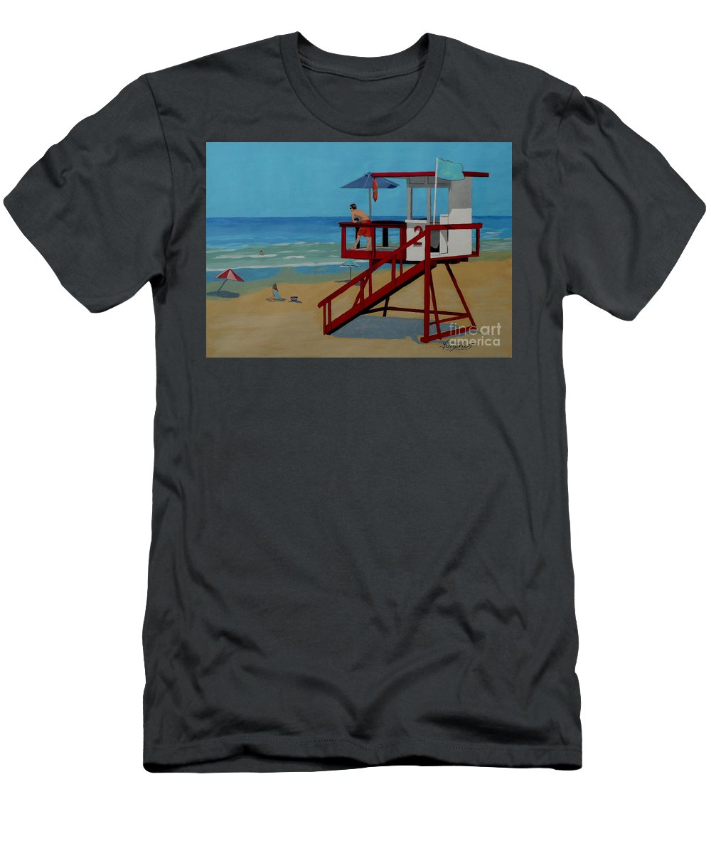 Lifeguard Men's T-Shirt (Athletic Fit) featuring the painting Distracted Lifeguard by Anthony Dunphy
