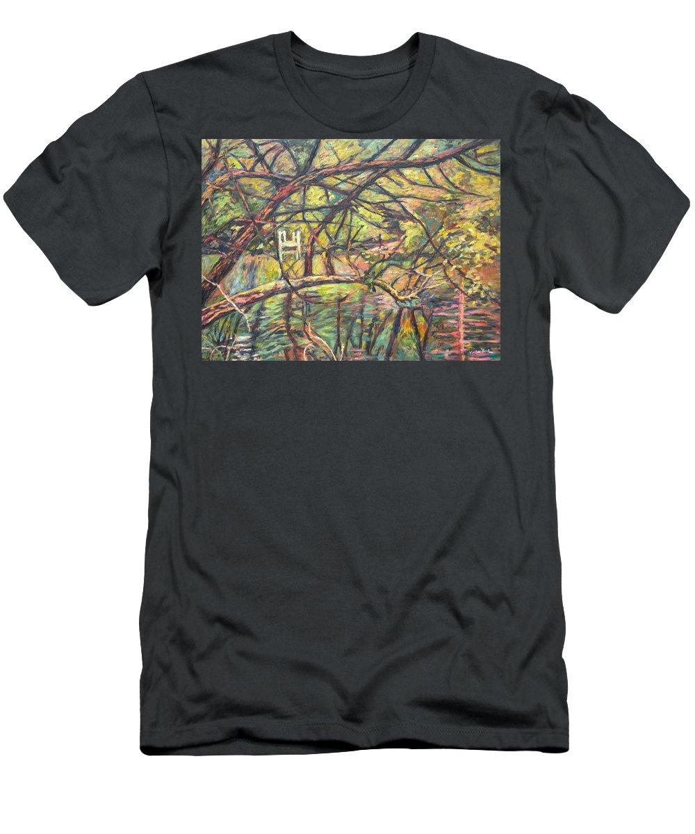 Landscape Men's T-Shirt (Athletic Fit) featuring the painting Dock At Pandapas by Kendall Kessler