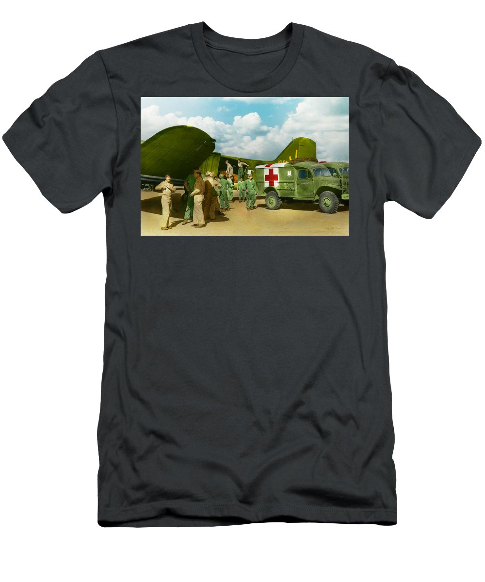 C-47 T-Shirt featuring the photograph Doctor - Transferring The Wounded by Mike Savad