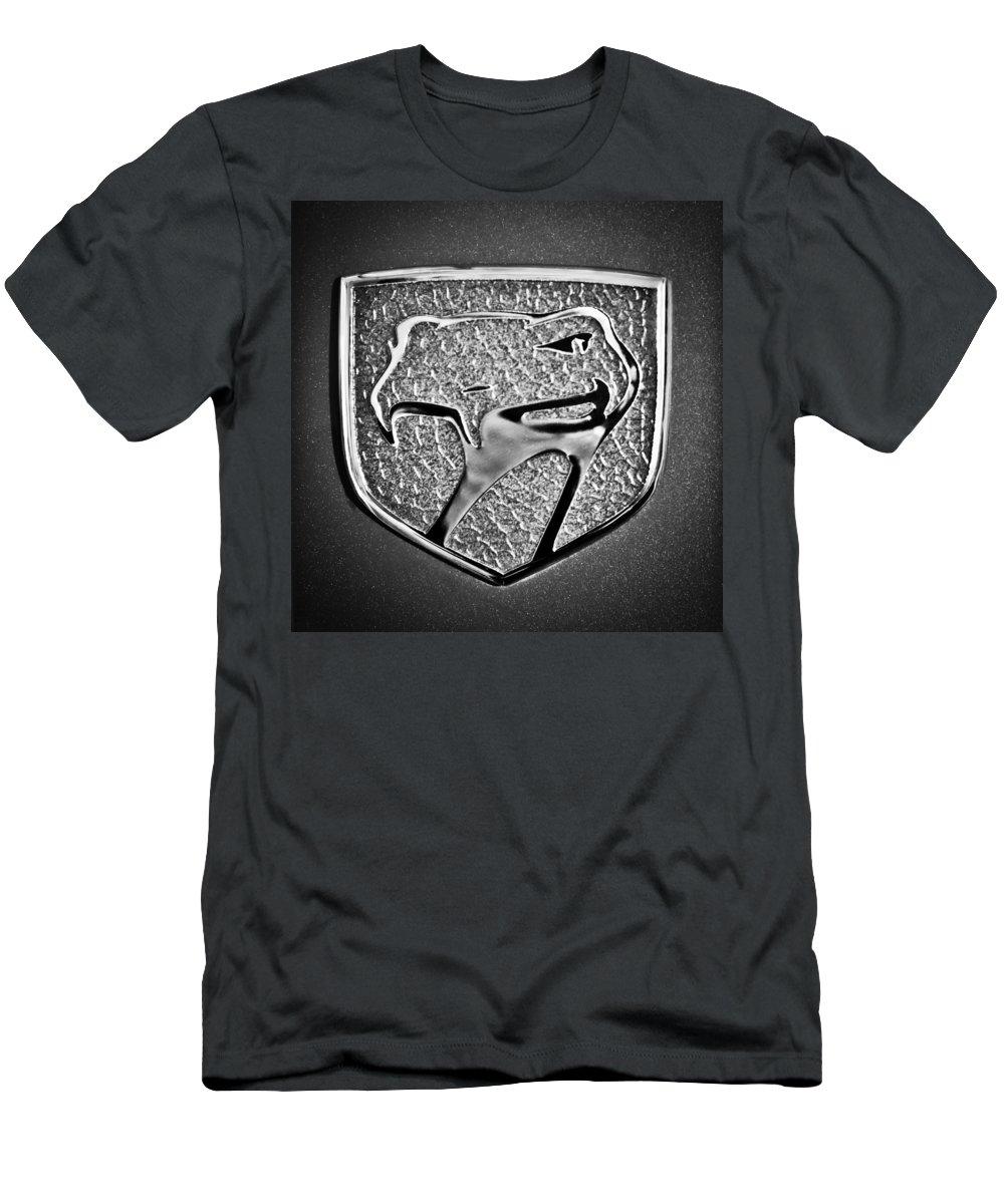 Dodge Viper Emblem Men's T-Shirt (Athletic Fit) featuring the photograph Dodge Viper Emblem -217bw by Jill Reger