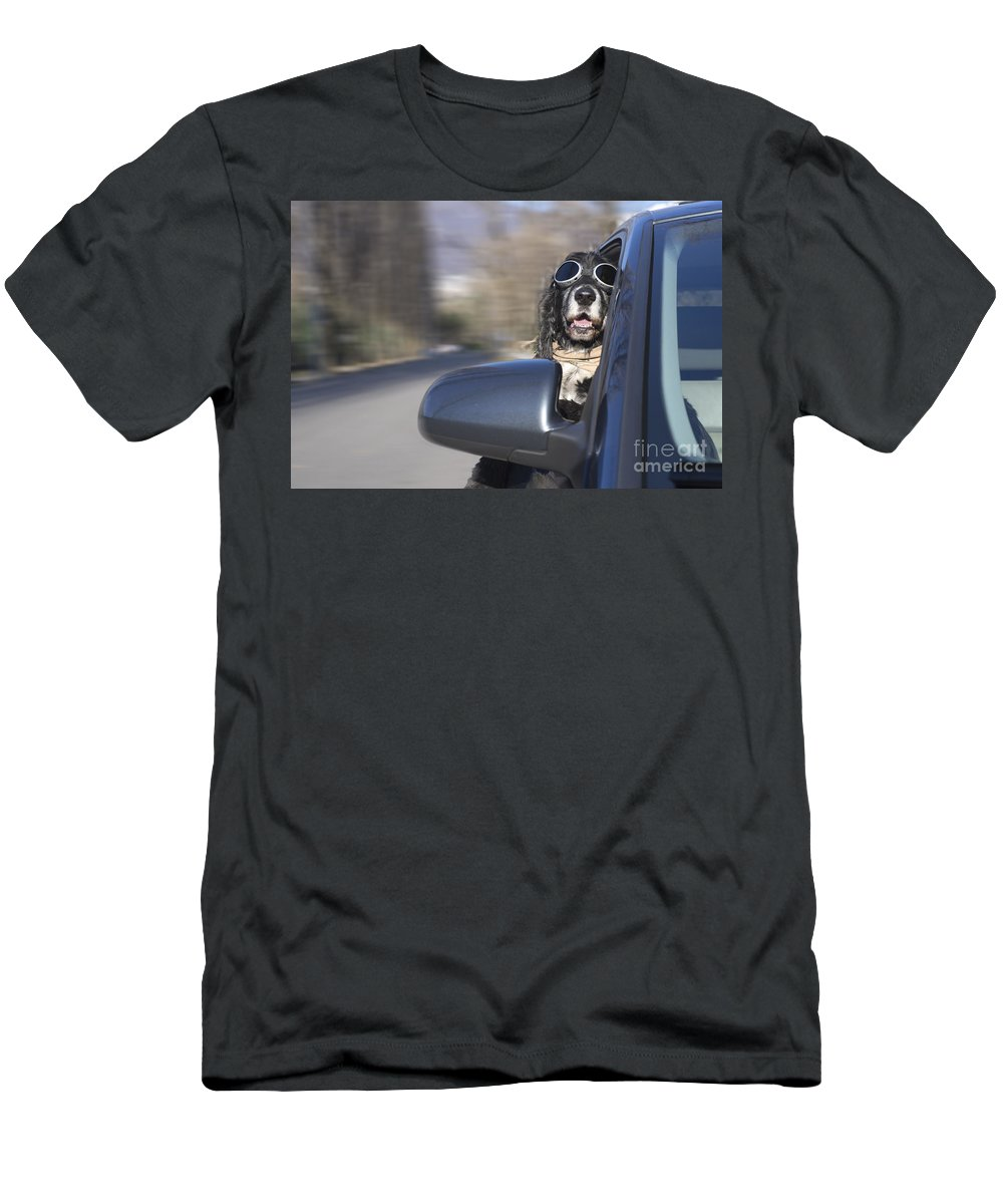 Dog Men's T-Shirt (Athletic Fit) featuring the photograph Dog In The Car Window by Mats Silvan