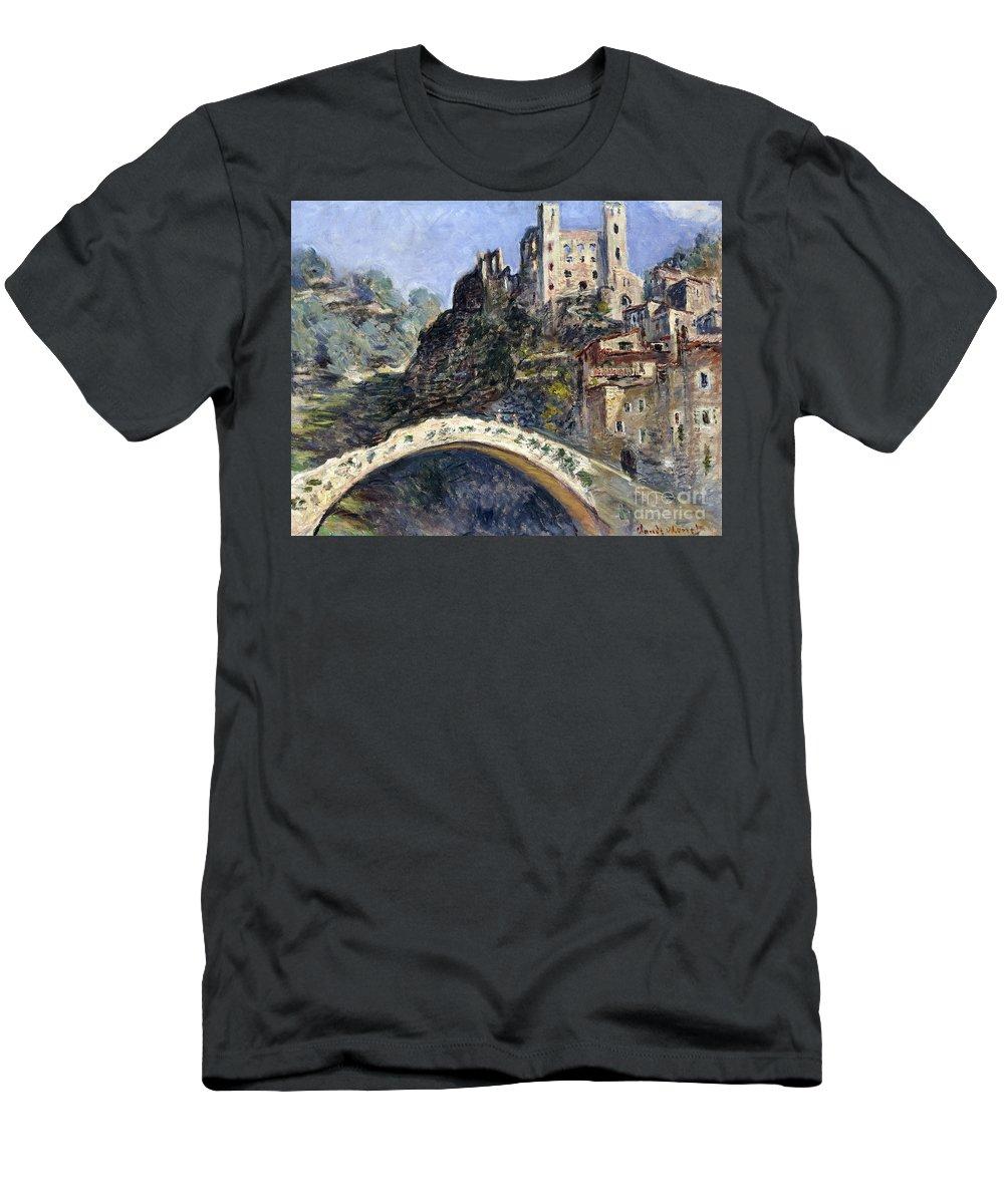 Monet Men's T-Shirt (Athletic Fit) featuring the painting Dolceacqua by Claude Monet