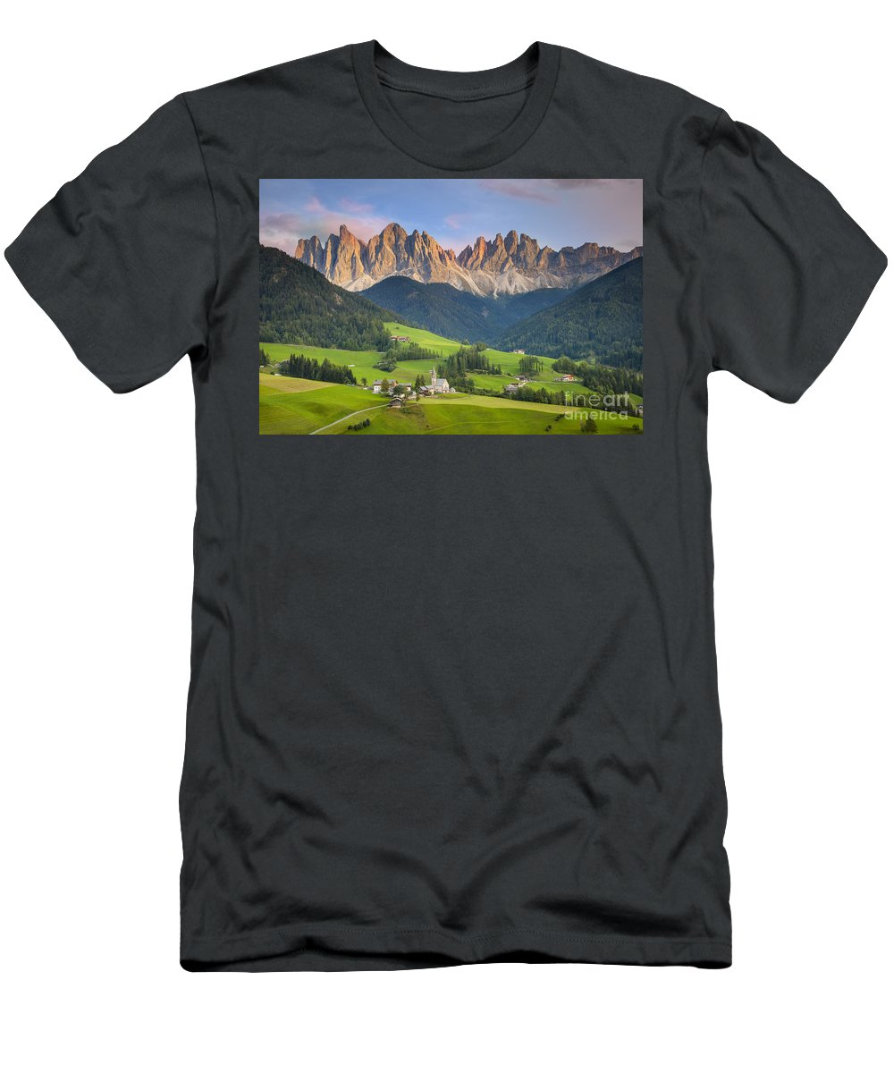 Chapel Men's T-Shirt (Athletic Fit) featuring the photograph Dolomites From Val Di Funes by Brian Jannsen