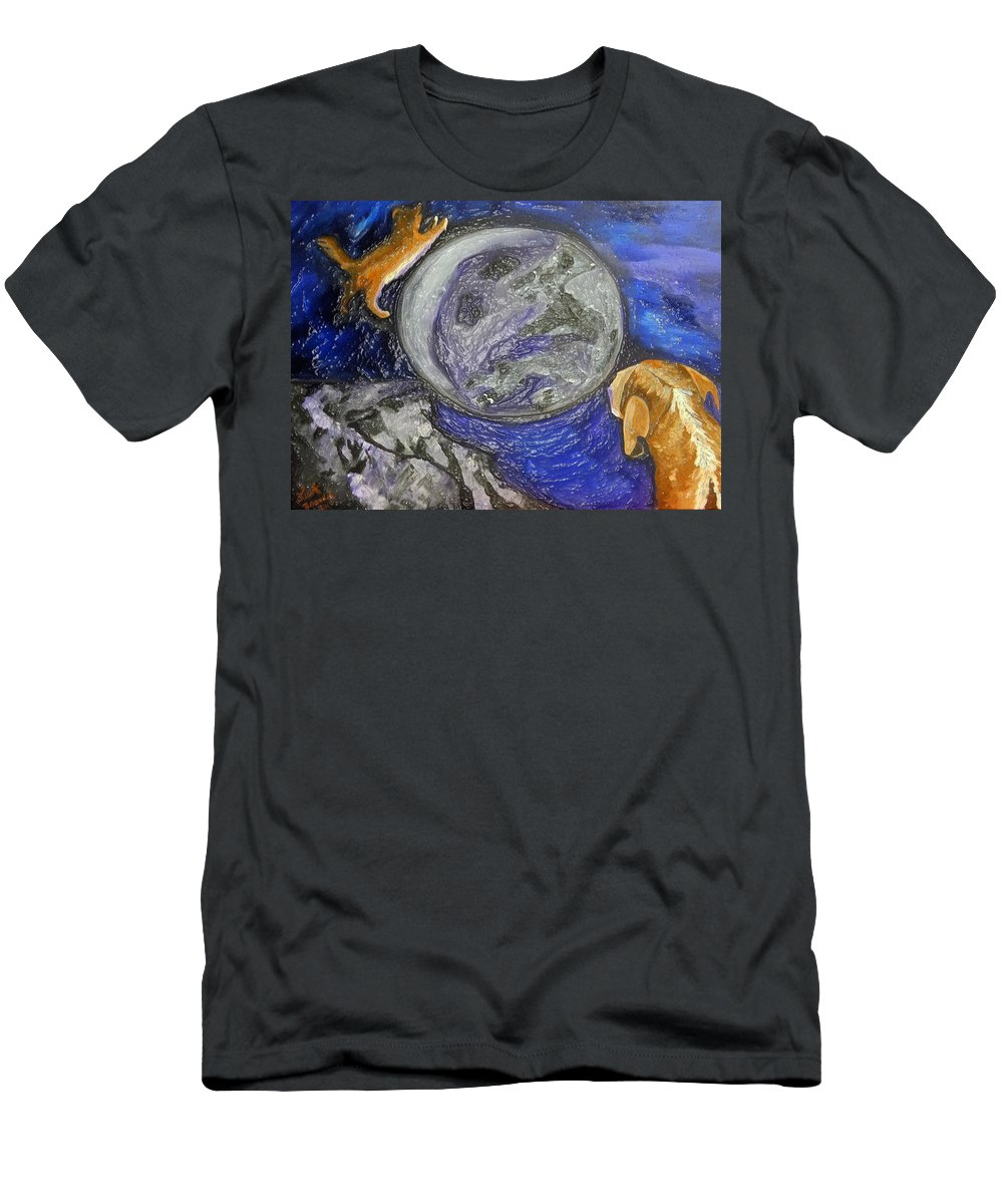 Dogs Men's T-Shirt (Athletic Fit) featuring the painting Don't Stay On The Porch by Lisa Brandel