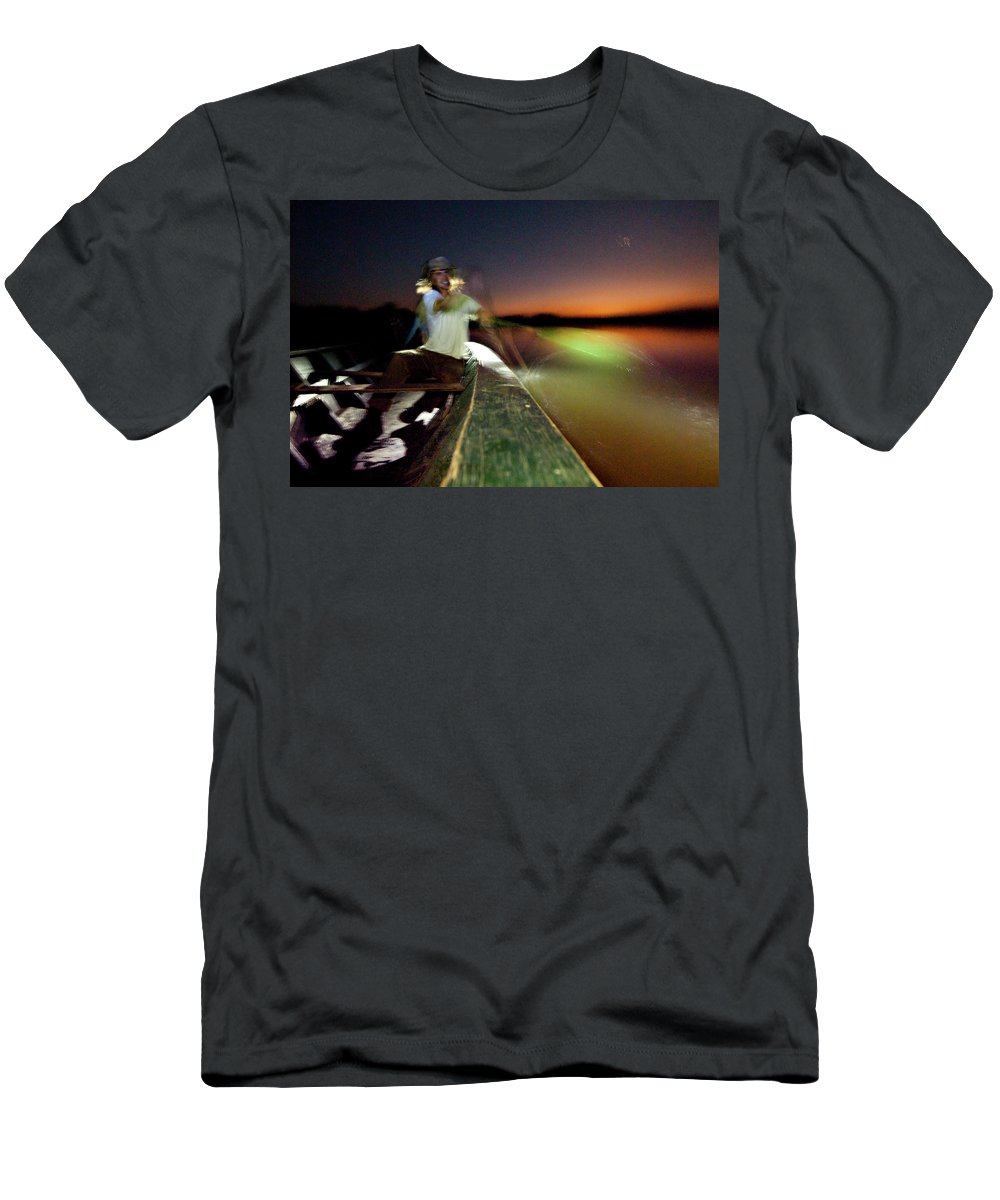 20-24 Years Men's T-Shirt (Athletic Fit) featuring the photograph Dorian Simon Paddles A Large Wooden by R. Tyler Gross