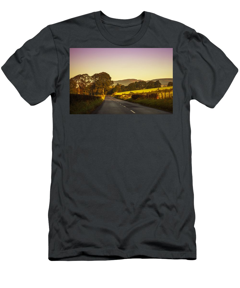 Scotland Men's T-Shirt (Athletic Fit) featuring the photograph Down By The Road. Scotland by Jenny Rainbow