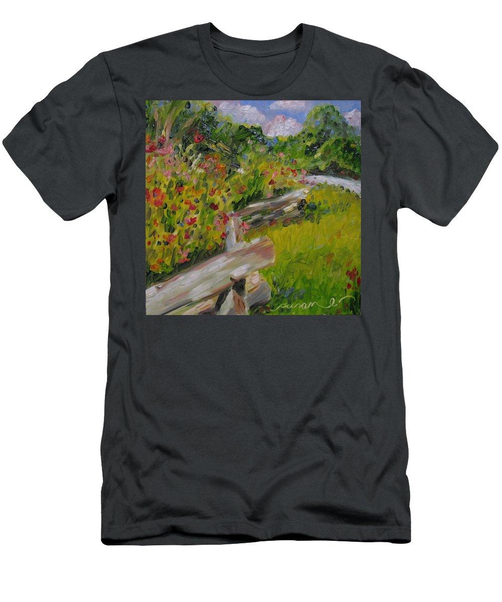 Flora Men's T-Shirt (Athletic Fit) featuring the painting Down The Natchez Trace by Susan Elizabeth Jones