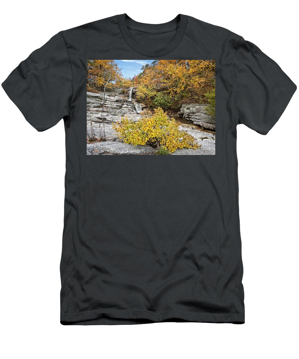 Waterfalls Men's T-Shirt (Athletic Fit) featuring the photograph Down The Rocks by Claudia Kuhn