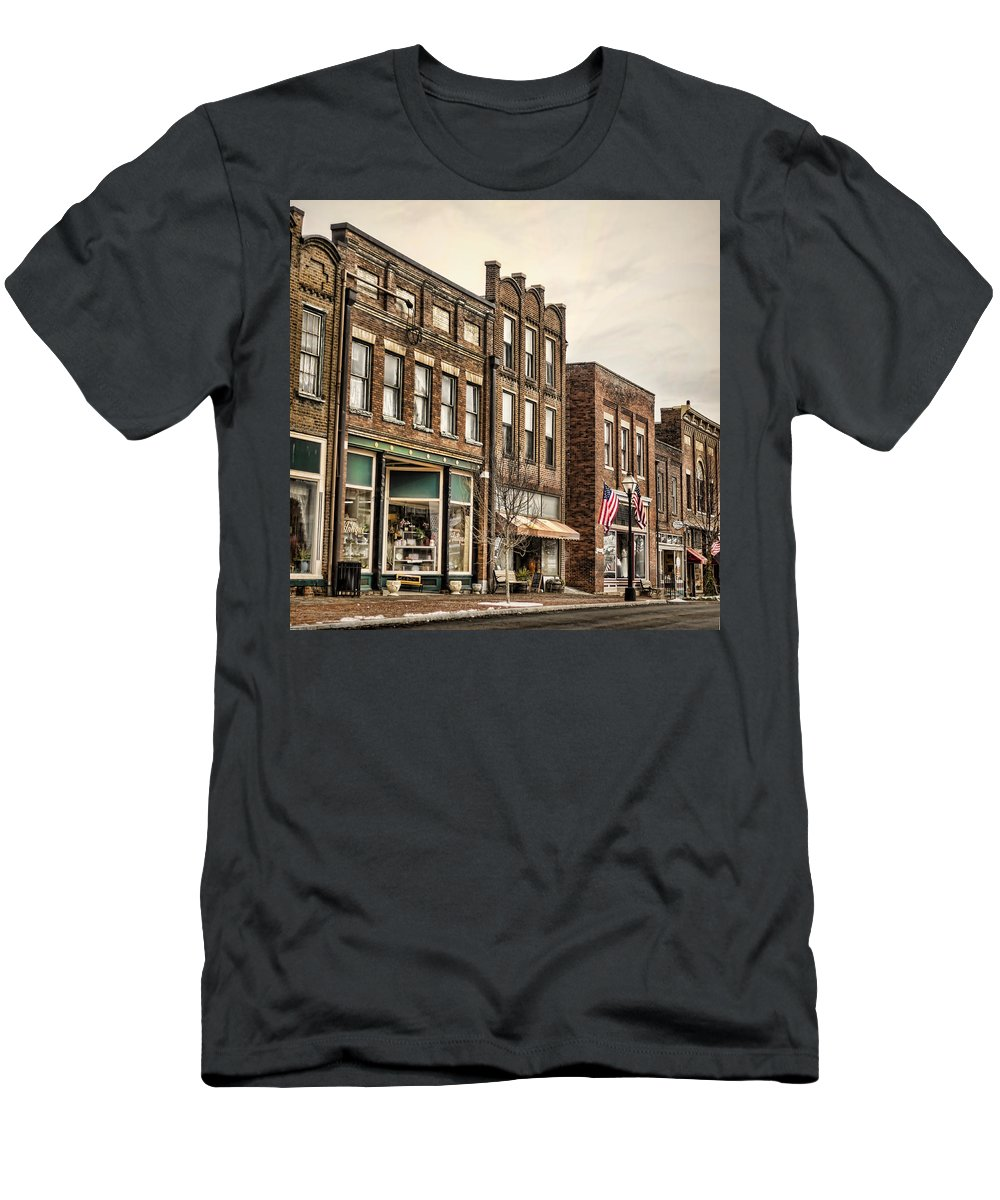 Jonesborough Men's T-Shirt (Athletic Fit) featuring the photograph Downtown Jonesborough by Heather Applegate