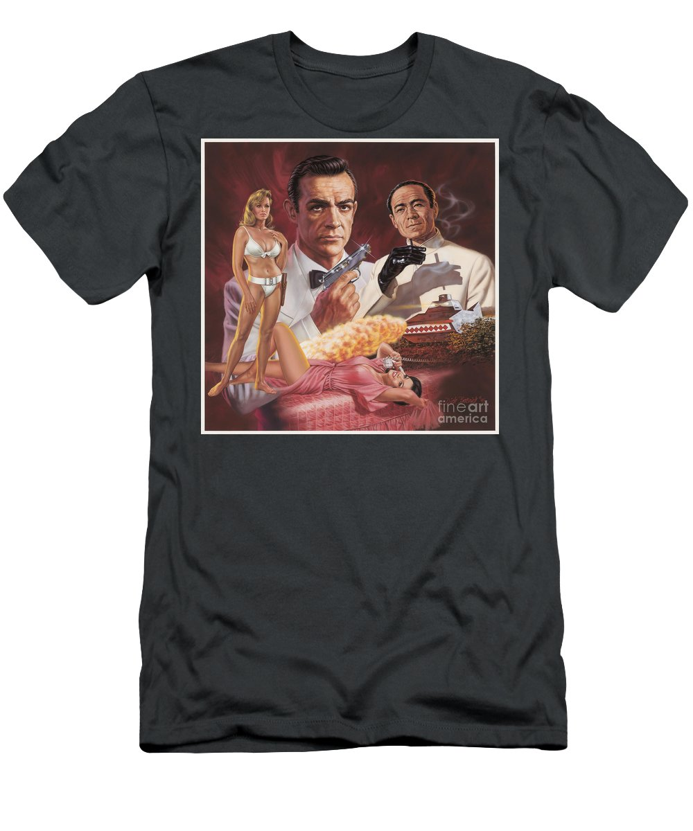 Portrait Men's T-Shirt (Athletic Fit) featuring the painting Dr. No by Dick Bobnick