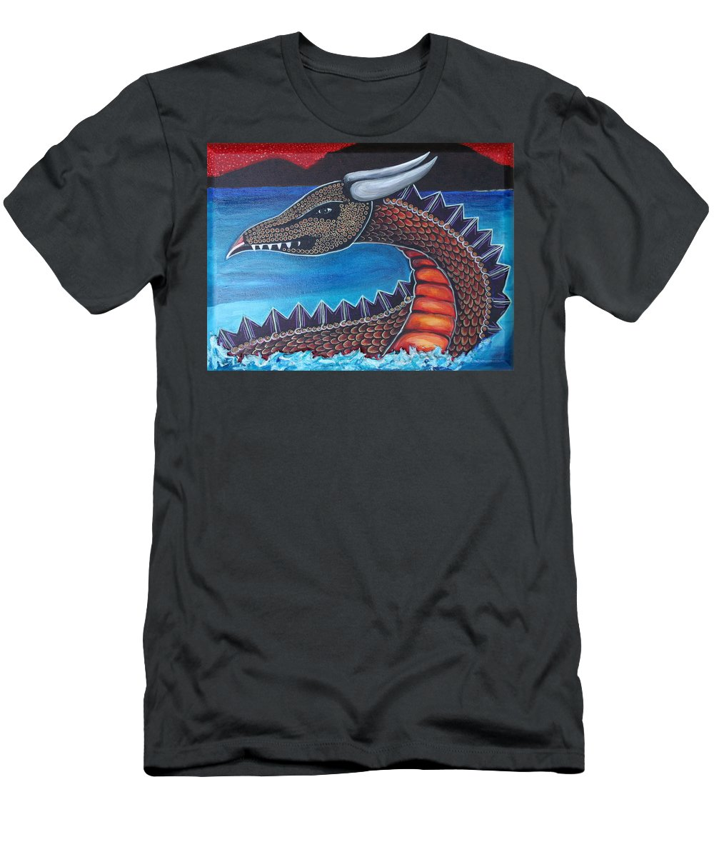 Dragon T-Shirt featuring the painting Dragon Three by Kate Fortin