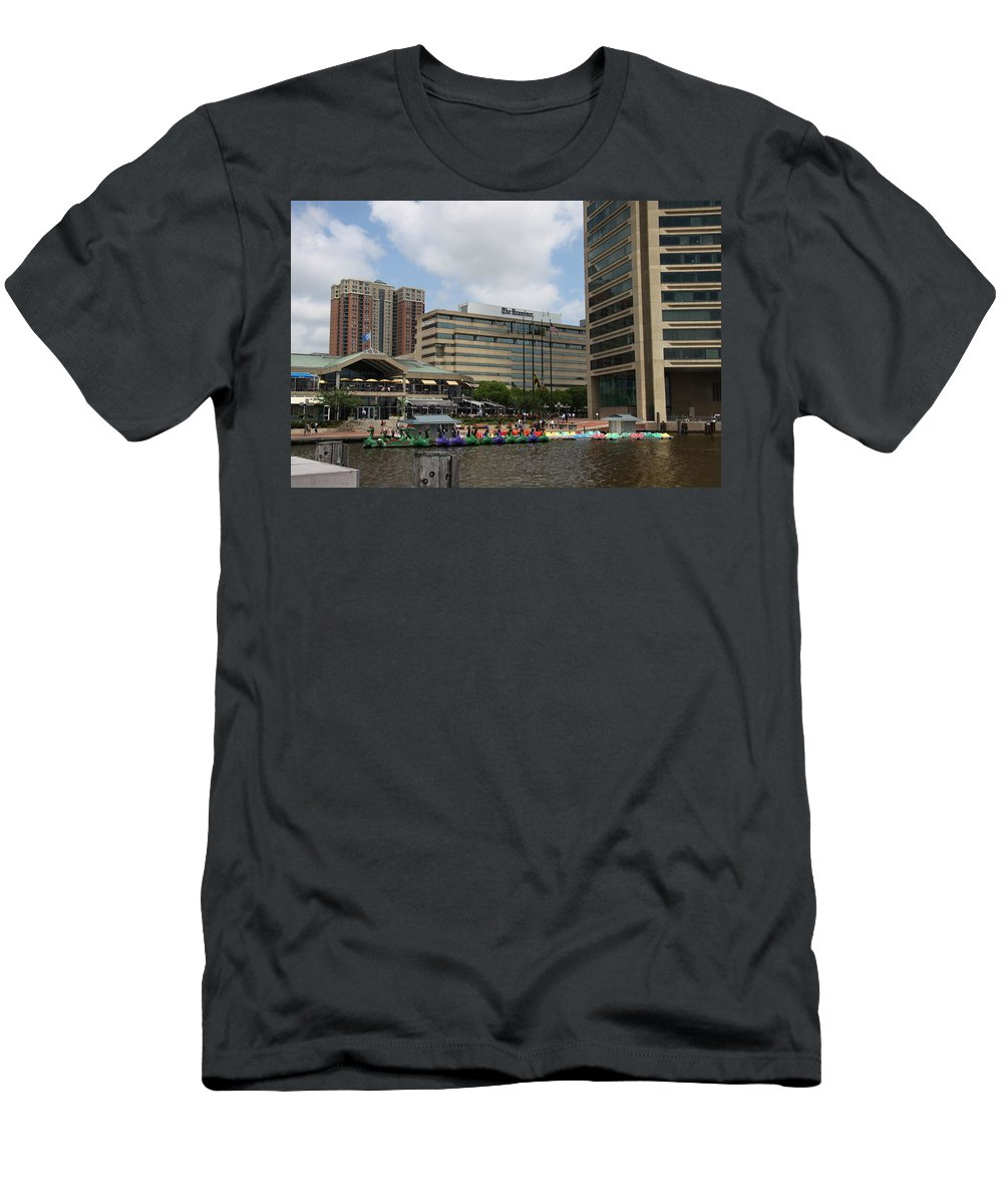 Boats Men's T-Shirt (Athletic Fit) featuring the photograph Dragonboats - Inner Harbor Baltimore by Christiane Schulze Art And Photography
