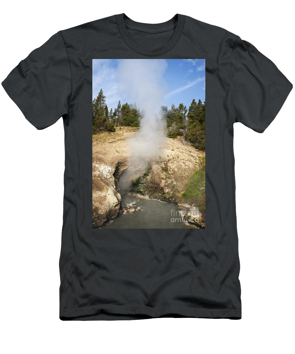 Wyoming Men's T-Shirt (Athletic Fit) featuring the photograph Dragon's Mouth Spring by Bryan Mullennix