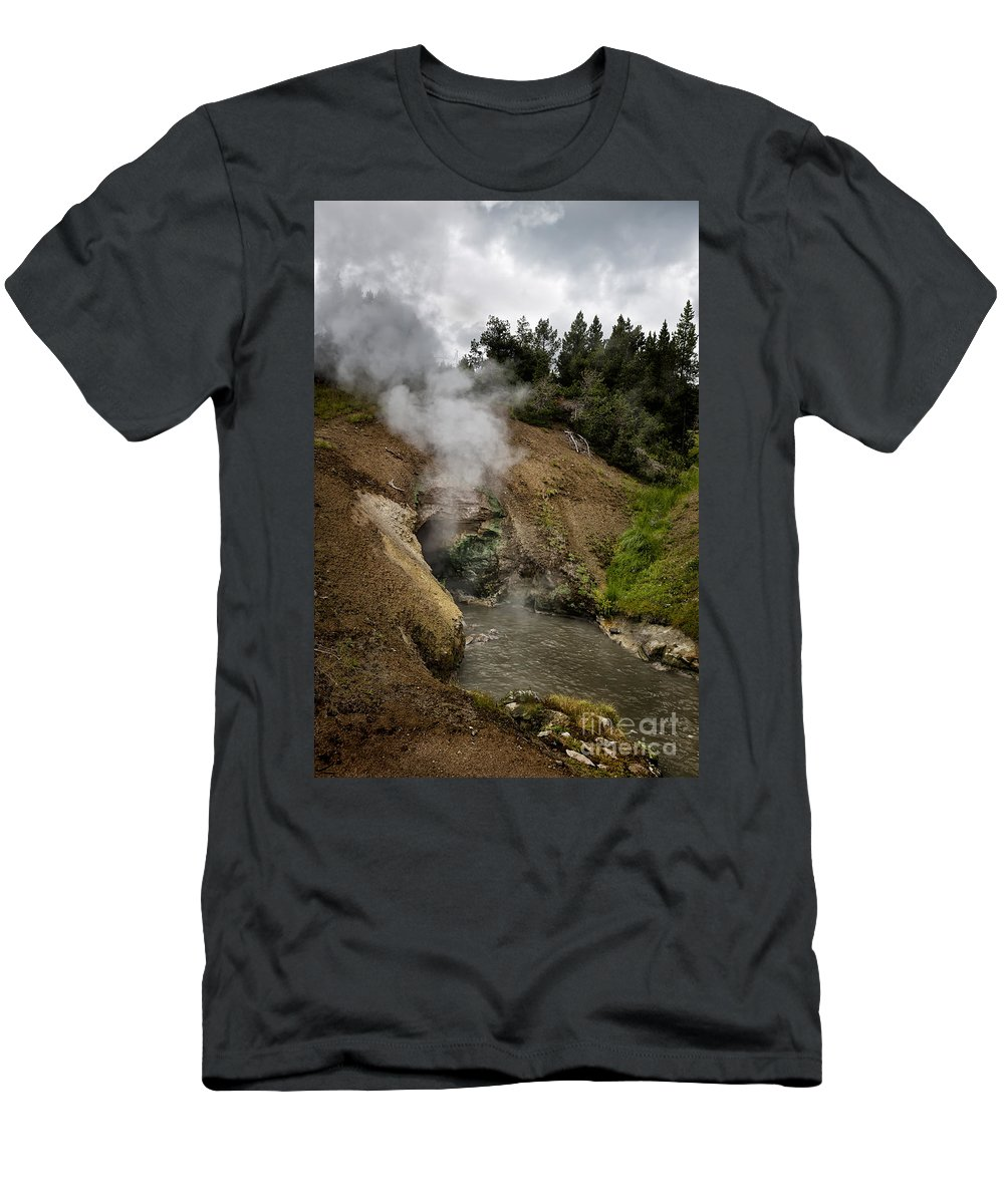 Yellowstone Men's T-Shirt (Athletic Fit) featuring the photograph Dragon's Mouth Spring - Yellowstone by Belinda Greb