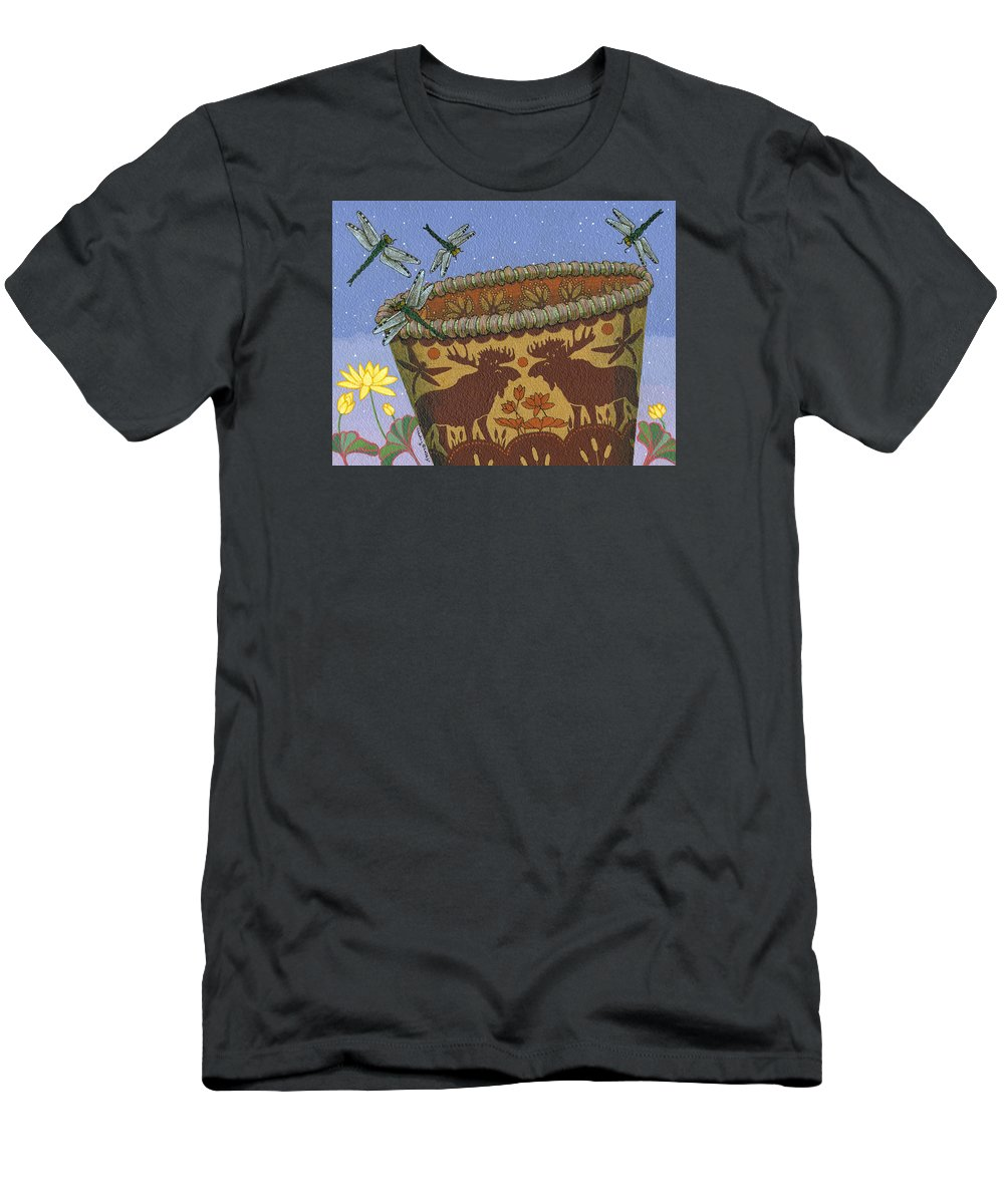 America T-Shirt featuring the painting Dragonfly - Cohkanapises by Chholing Taha