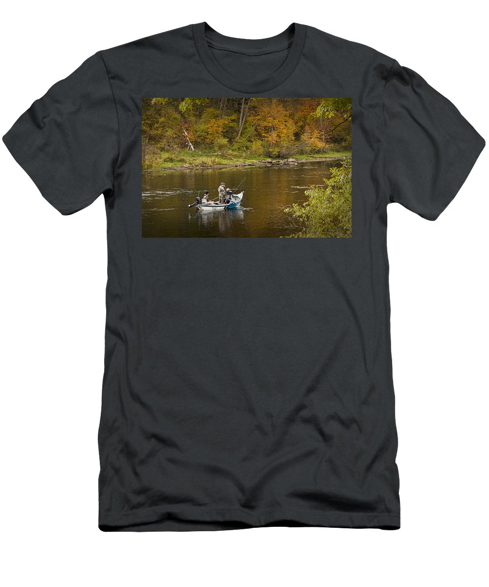 Art Men's T-Shirt (Athletic Fit) featuring the photograph Drift Boat Fishermen On The Muskegon River by Randall Nyhof