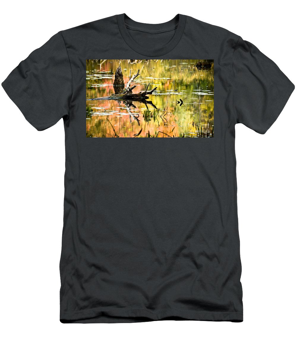 Driftwood Men's T-Shirt (Athletic Fit) featuring the photograph Drift Wood Reflections by Cheryl Baxter