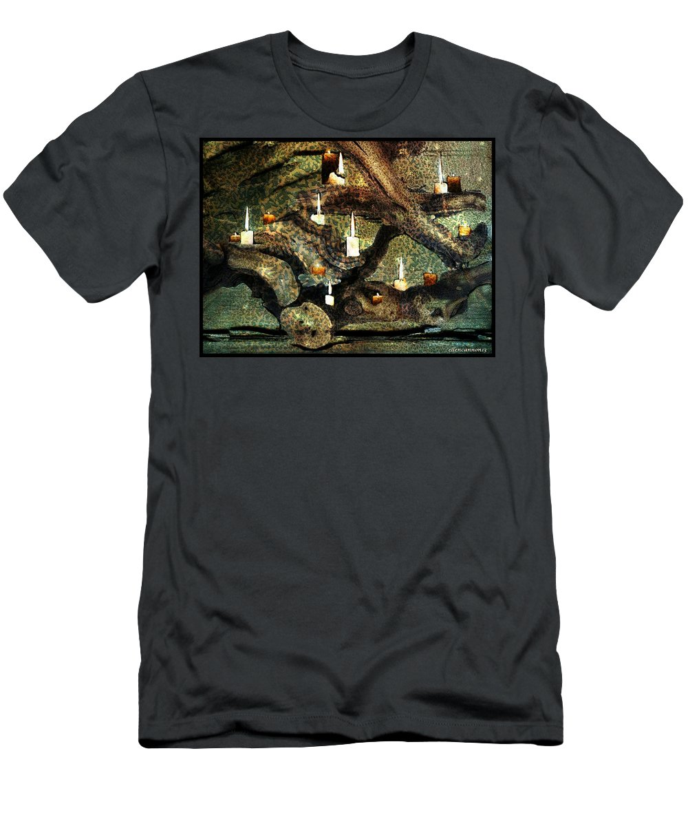 Candles Men's T-Shirt (Athletic Fit) featuring the photograph Driftwood Illume by Ellen Cannon