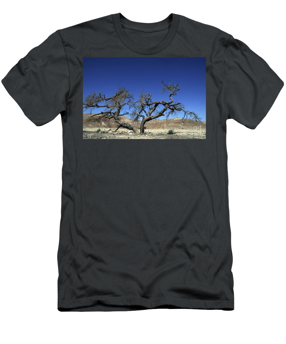 Death Men's T-Shirt (Athletic Fit) featuring the photograph Dry Solitary Tree by Efi Bar