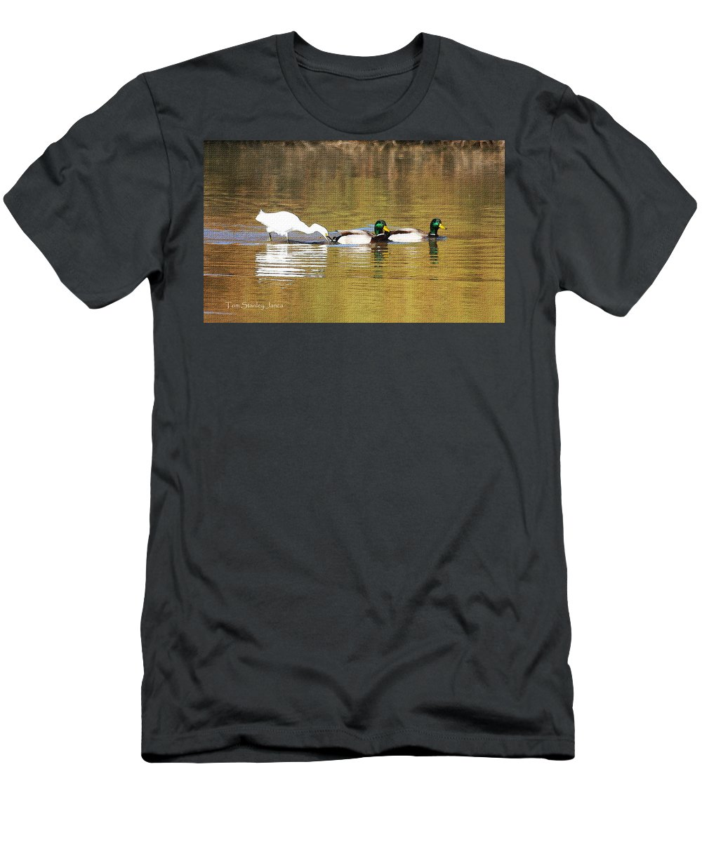 Ducks And Egret Men's T-Shirt (Athletic Fit) featuring the photograph Ducks And Egret by Tom Janca