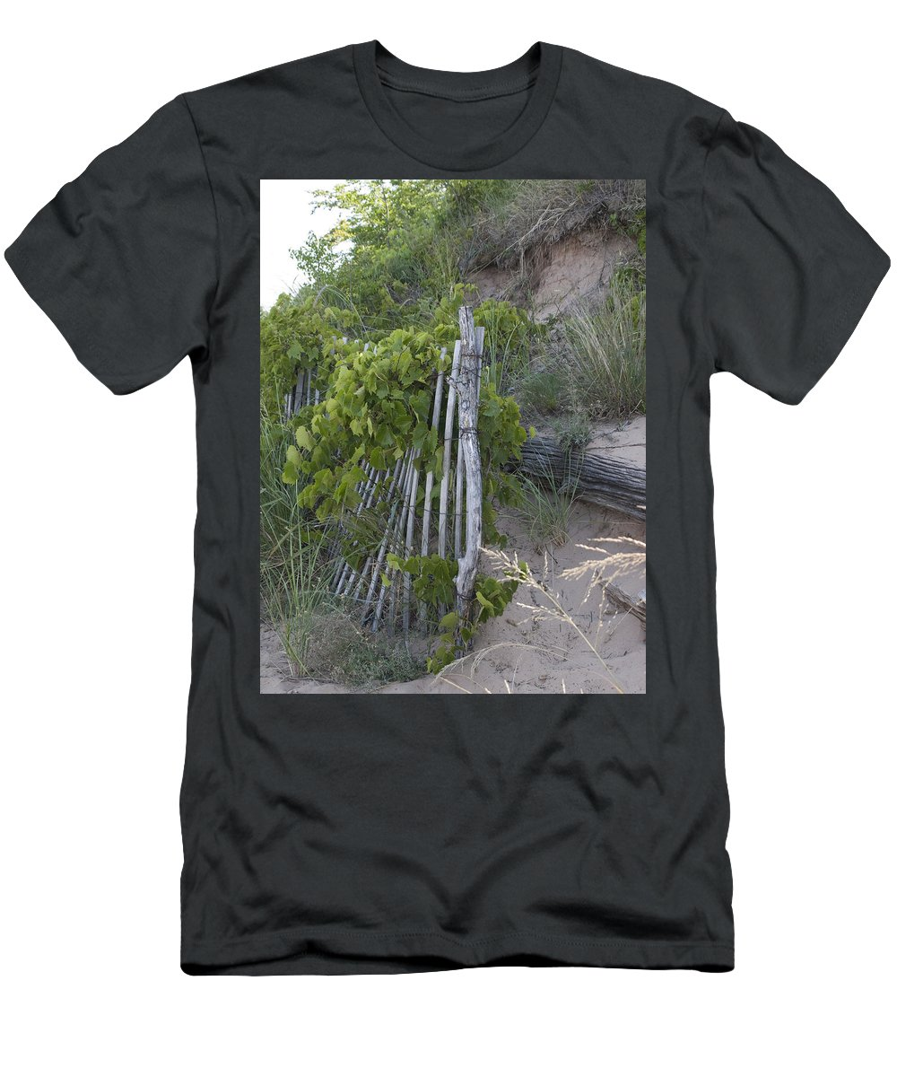 Sand Nature Dune Dunes Michigan Michigan Hill Fence Green Men's T-Shirt (Athletic Fit) featuring the photograph Dune Side by Tara Lynn