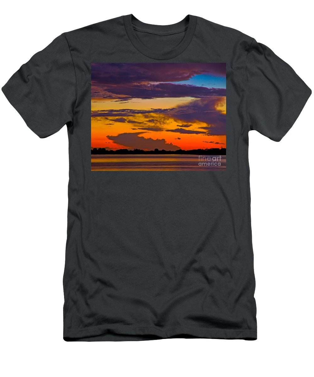 Florida Men's T-Shirt (Athletic Fit) featuring the photograph Dunedin Causeway Sunset by Stephen Whalen