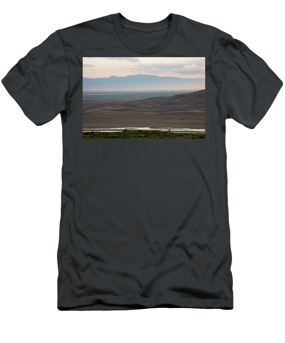 Color Image Men's T-Shirt (Athletic Fit) featuring the photograph Dusk Over Medano Creek And The San Luis by Scott Warren