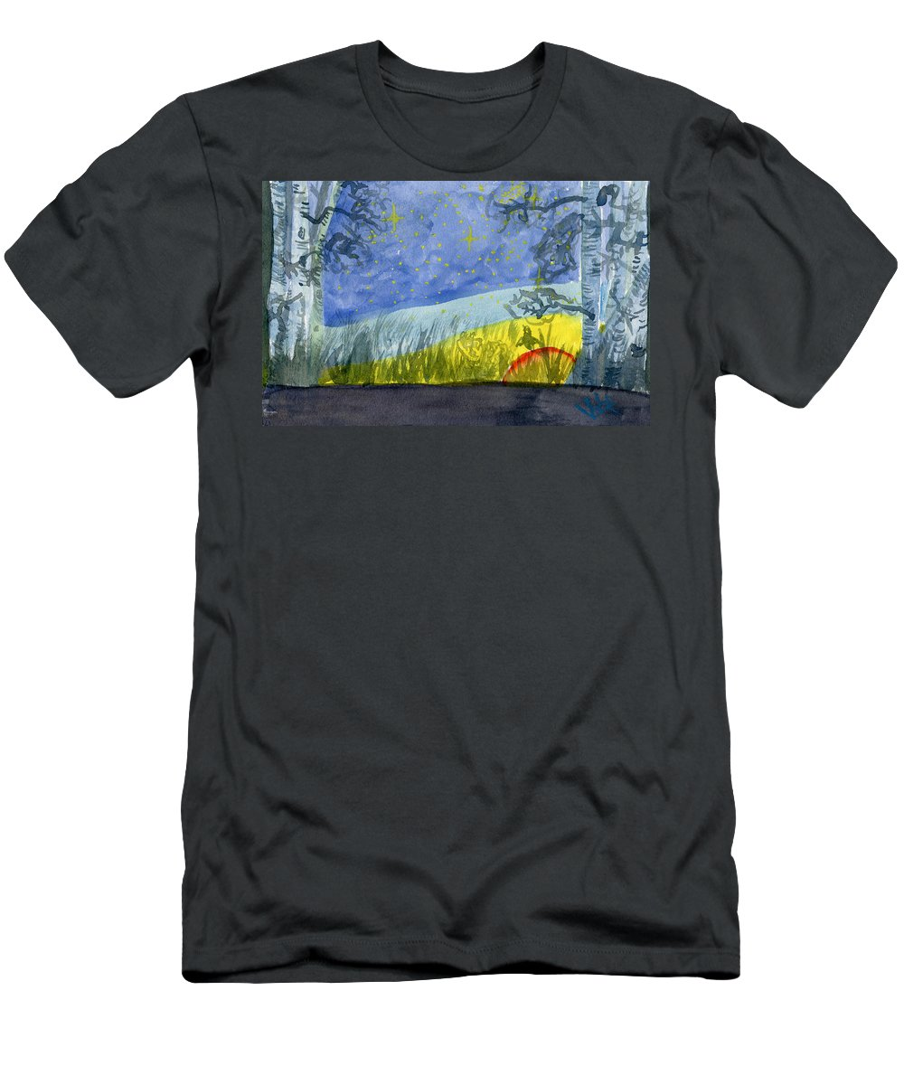 Landscape Men's T-Shirt (Athletic Fit) featuring the painting Dusky Scene Of Stars And Beans by Victor Vosen