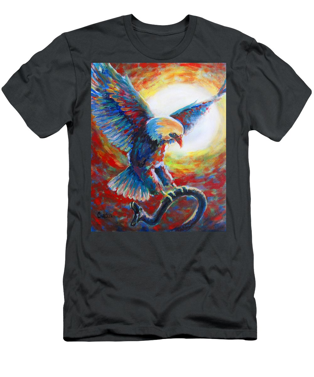 Prophetic Art Men's T-Shirt (Athletic Fit) featuring the painting Eagle Takes Charge by Tamer and Cindy Elsharouni