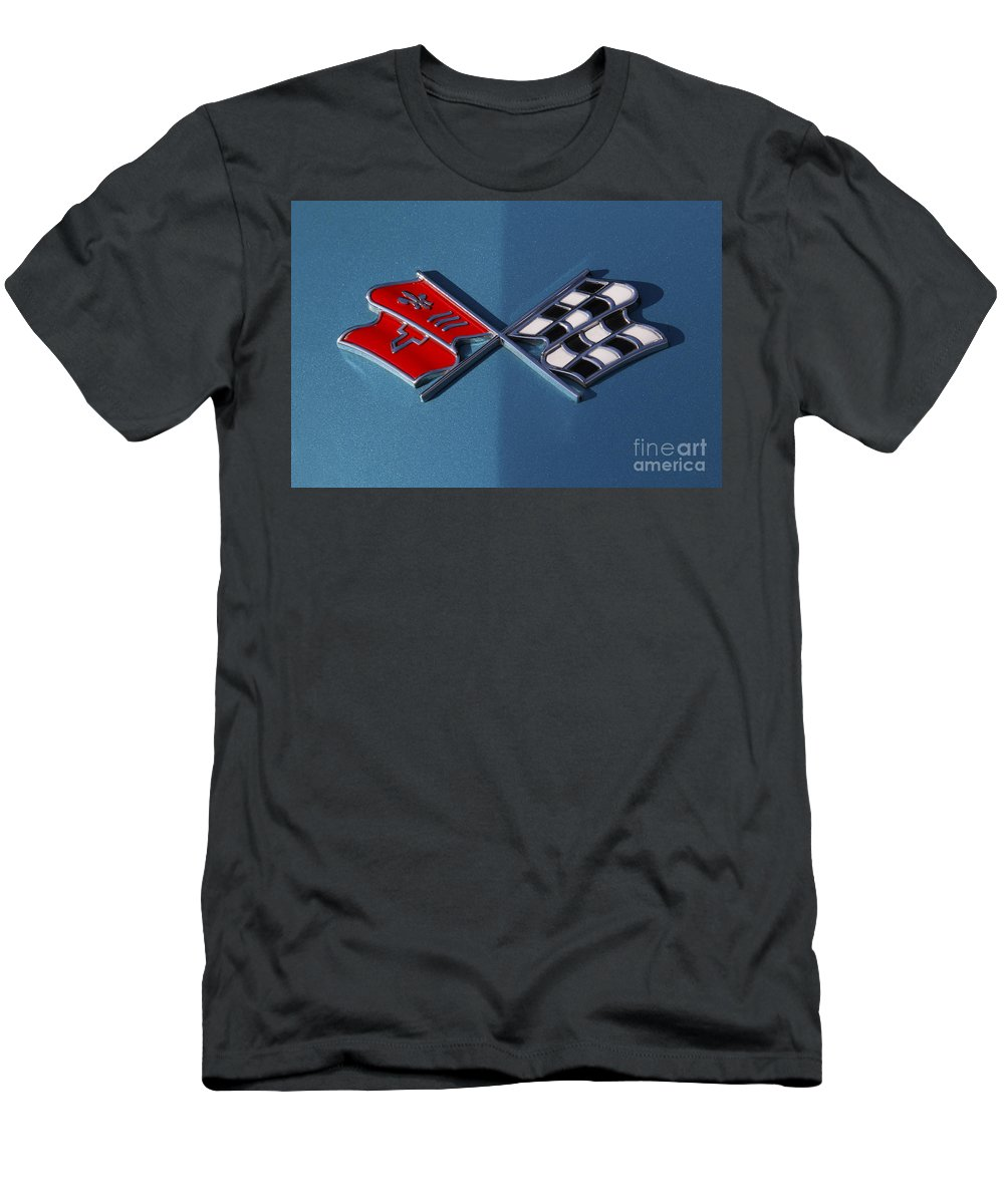 Corvette Men's T-Shirt (Athletic Fit) featuring the photograph Early C3 Corvette Emblem Blue by Dennis Hedberg