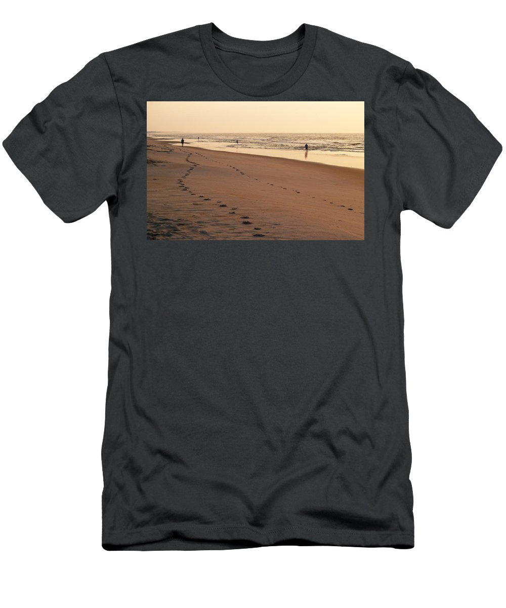 Litchfield Beach Men's T-Shirt (Athletic Fit) featuring the photograph Early Morning Stroll At Litchfield by Charles Hite