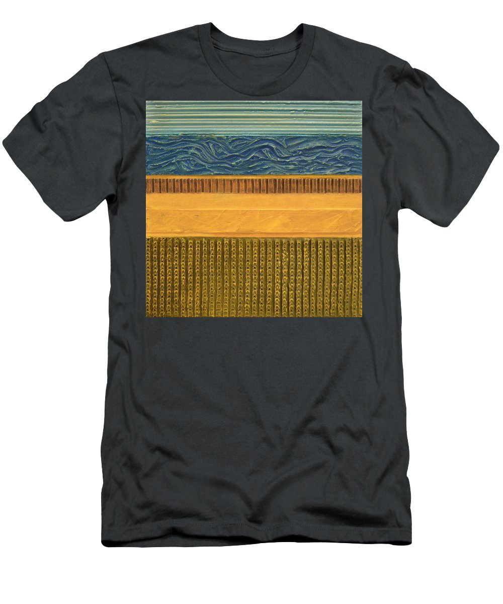 Abstract Men's T-Shirt (Athletic Fit) featuring the painting Earth Layers Abstract L by Michelle Calkins
