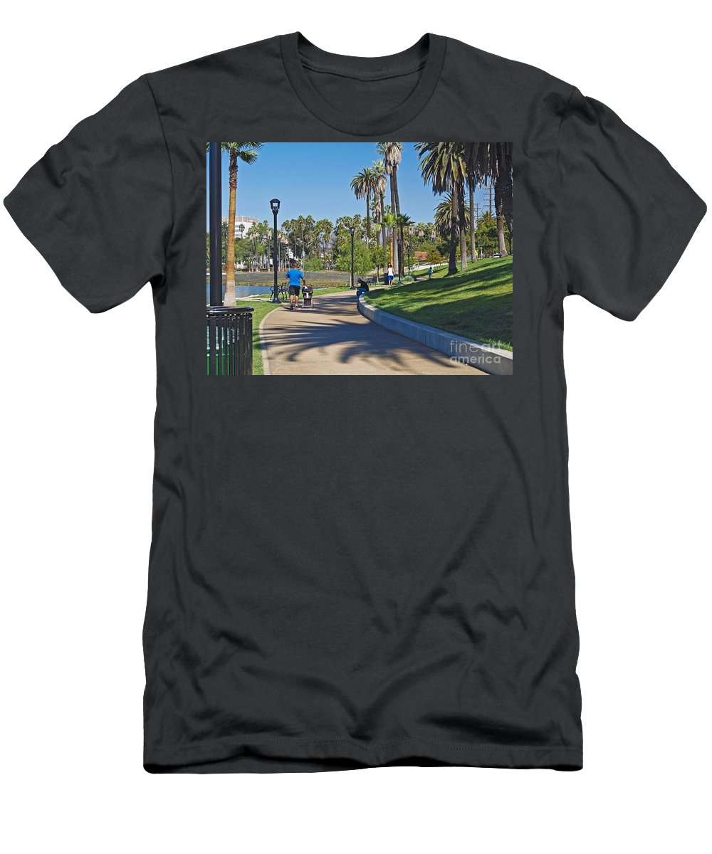 America Men's T-Shirt (Athletic Fit) featuring the photograph Echo Park Los Angeles by Howard Stapleton
