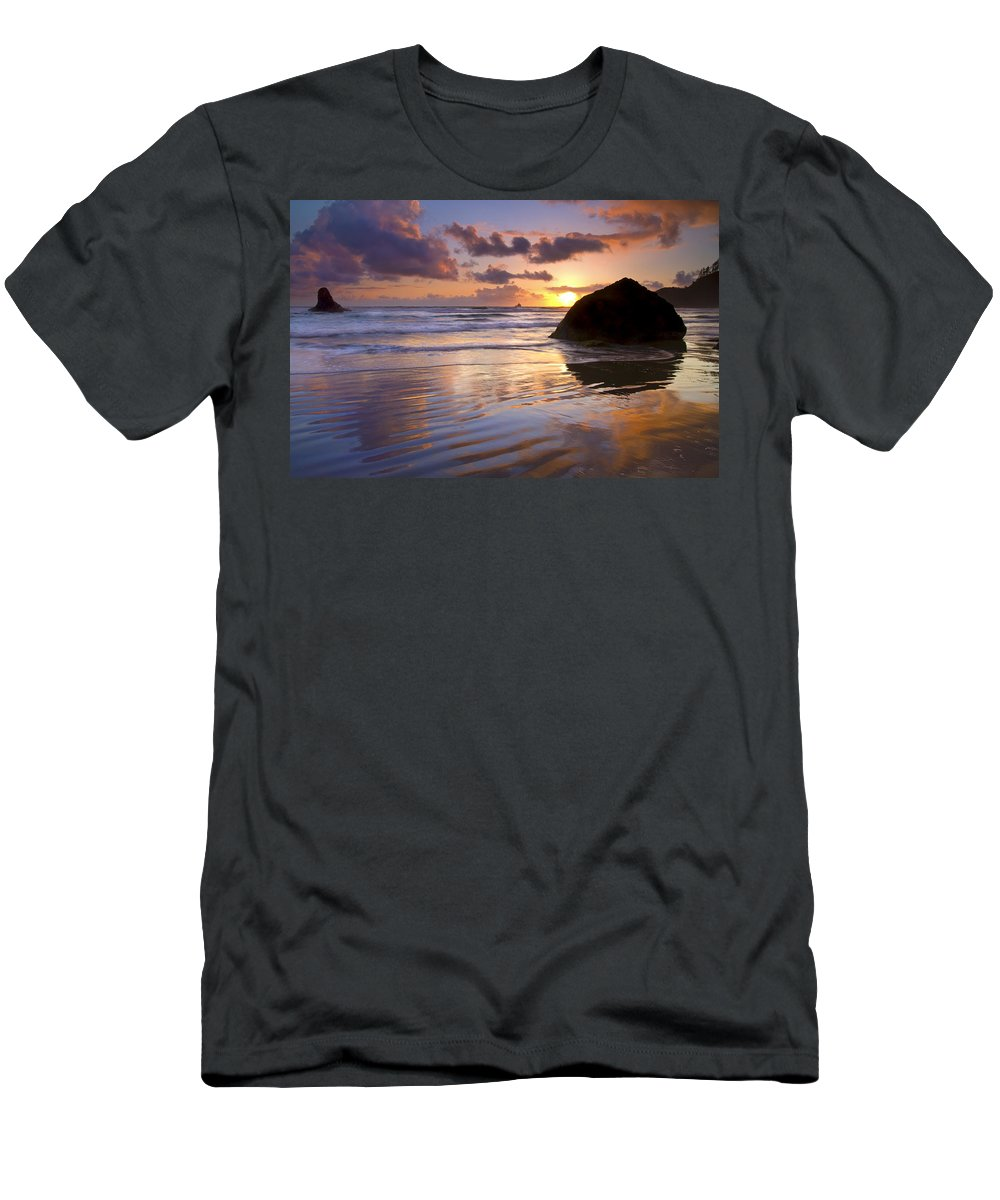 Sunset T-Shirt featuring the photograph Ecola Sunset by Mike Dawson