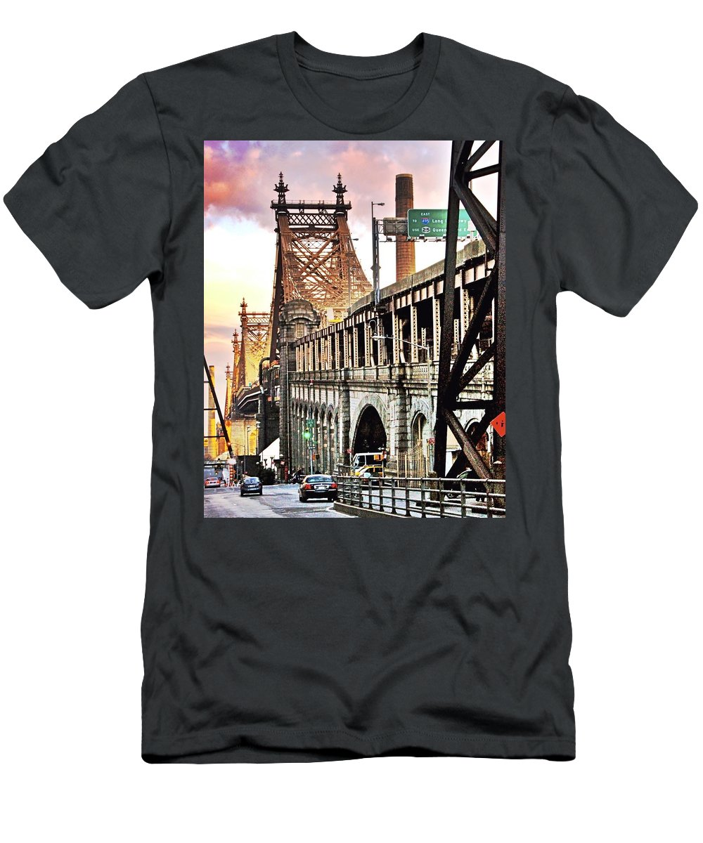 New York Men's T-Shirt (Athletic Fit) featuring the photograph Queensboro Bridge by Redub