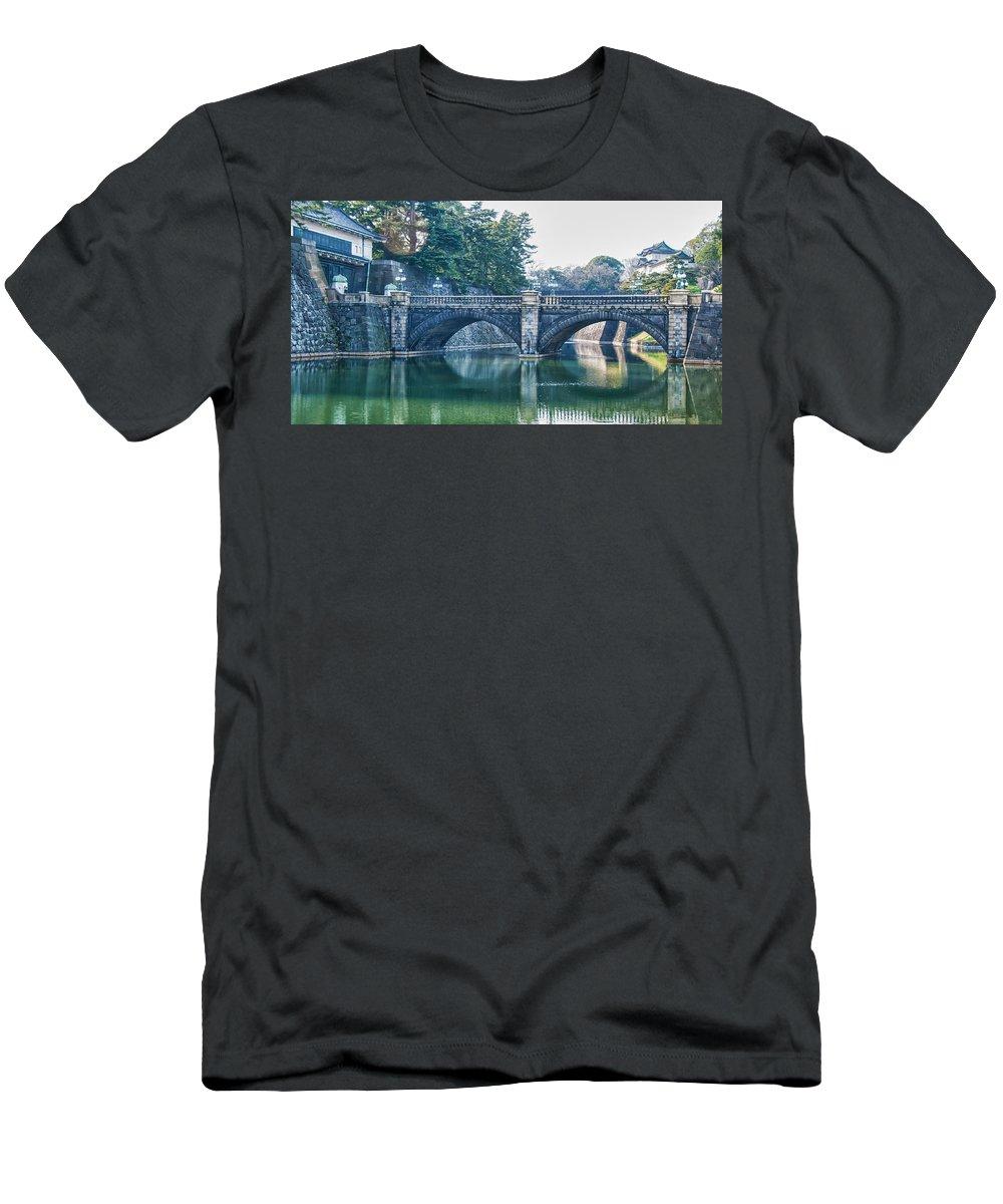 Edo Castle Men's T-Shirt (Athletic Fit) featuring the photograph Edo Castle And Nijubashi Bridge by Guy Whiteley