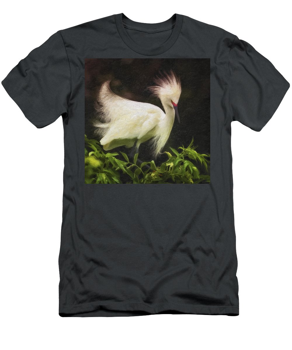 Bird Men's T-Shirt (Athletic Fit) featuring the photograph Egret 12 by Ingrid Smith-Johnsen