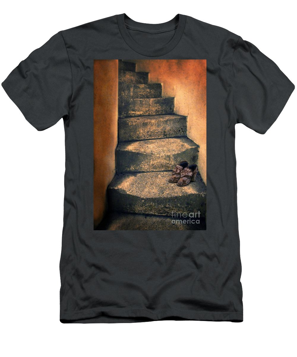 Stairs Men's T-Shirt (Athletic Fit) featuring the photograph Eighteenth Century Shoes On Old Stairway by Jill Battaglia