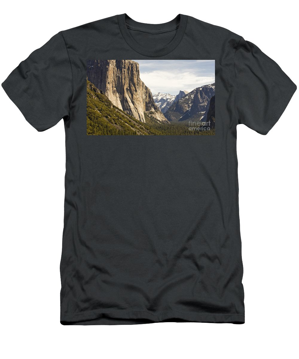 El Capitan Men's T-Shirt (Athletic Fit) featuring the photograph El Capitan And Half Dome by B Christopher
