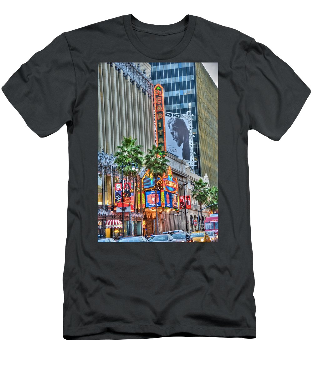 Hollywood Men's T-Shirt (Athletic Fit) featuring the photograph El Capitan Marquee Neon Lights Lincoln Billboard Hollywood Ca by David Zanzinger
