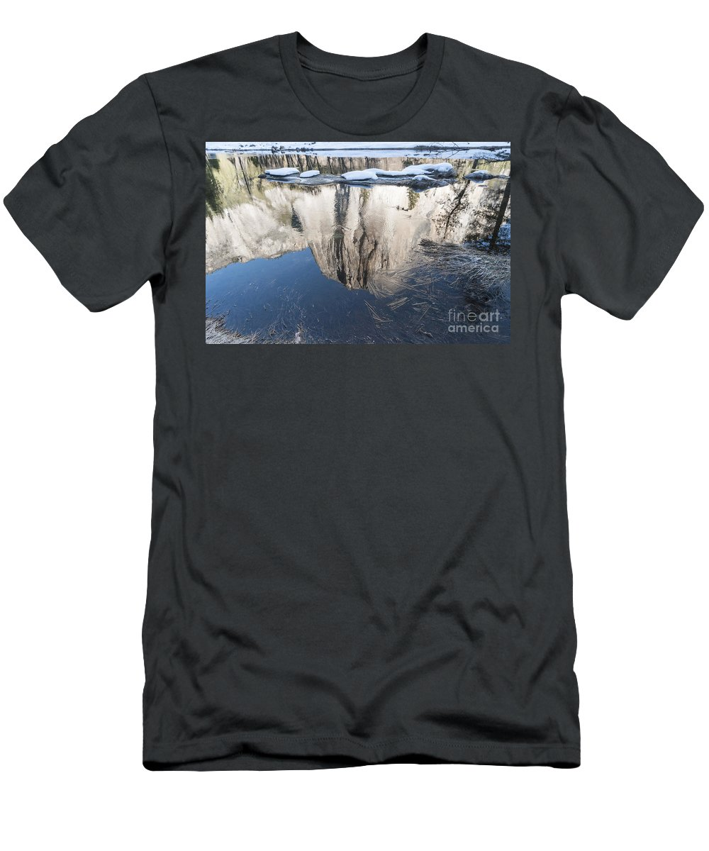 El Capitan Men's T-Shirt (Athletic Fit) featuring the photograph El Capitan Mountain by Gady Cojocaru