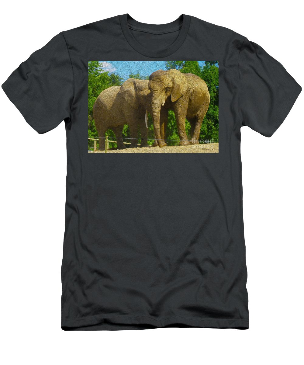 Elephant Men's T-Shirt (Athletic Fit) featuring the photograph Elephant Snuggle by Nina Silver