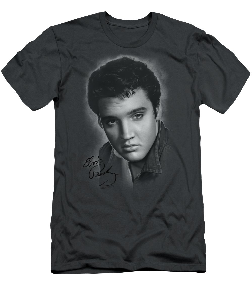 Elvis T-Shirt featuring the digital art Elvis - Grey Portrait by Brand A