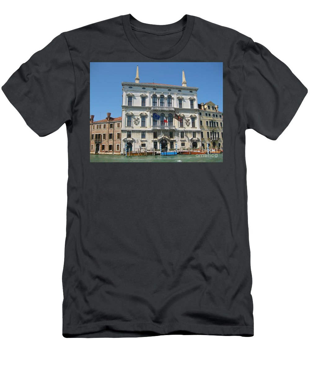 Embassy Buildings Venice Italy Men's T-Shirt (Athletic Fit) featuring the photograph Embassy Building Venice Italy by John Malone
