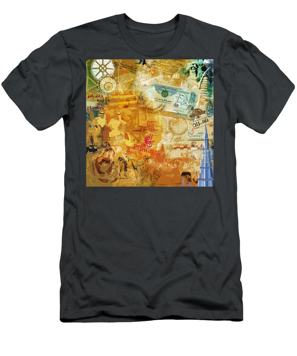 Dubai Expo Men's T-Shirt (Athletic Fit) featuring the painting Emirati Poster by Corporate Art Task Force