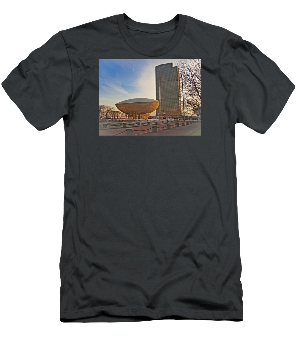 Cityscape Men's T-Shirt (Athletic Fit) featuring the photograph Empire State Plaza by Jiayin Ma