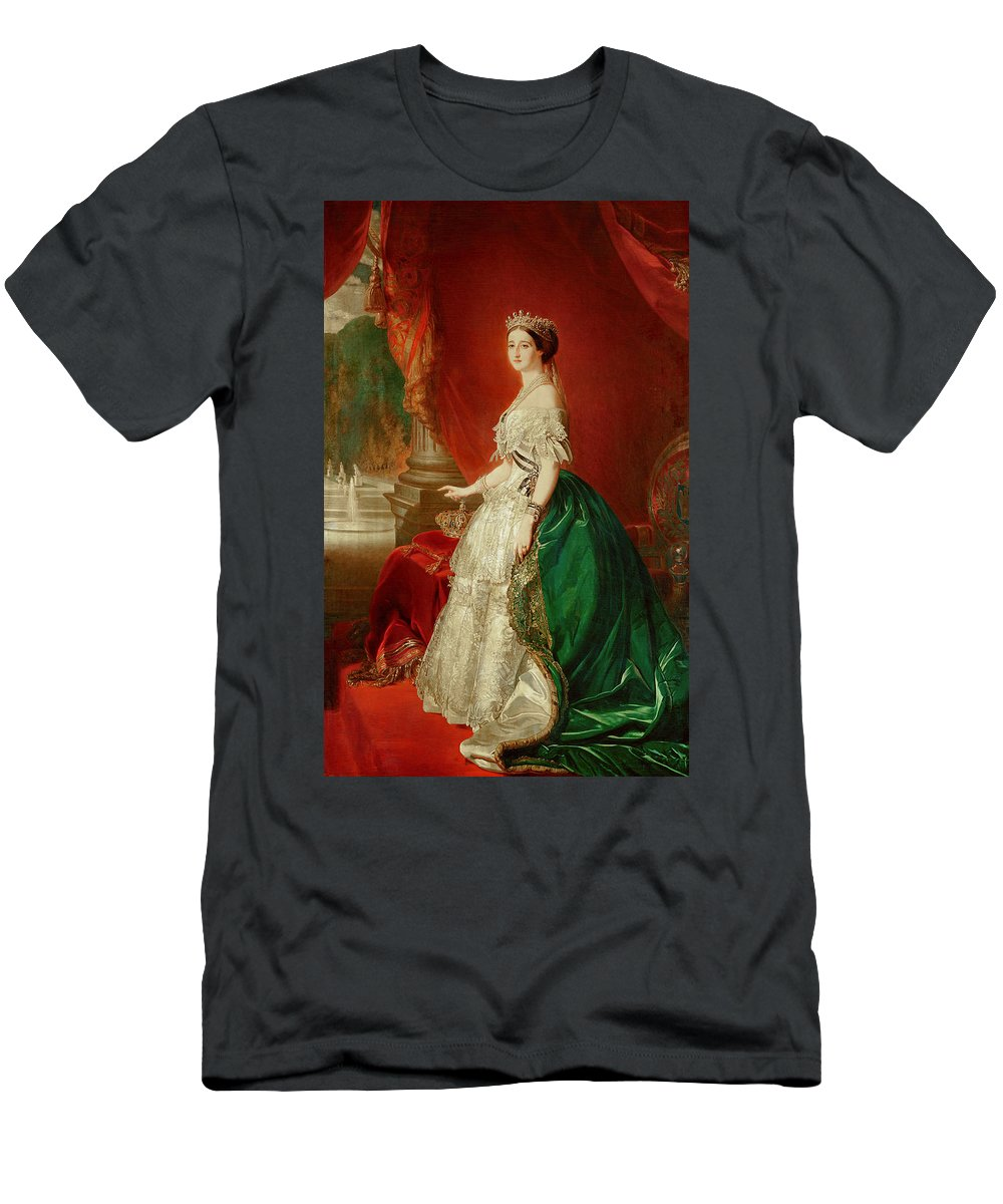 Court Portrait Men's T-Shirt (Athletic Fit) featuring the photograph Empress Eugenie Of France 1826-1920 Wife Of Napoleon Bonaparte IIi 1808-73 Oil On Canvas by Franz Xaver Winterhalter