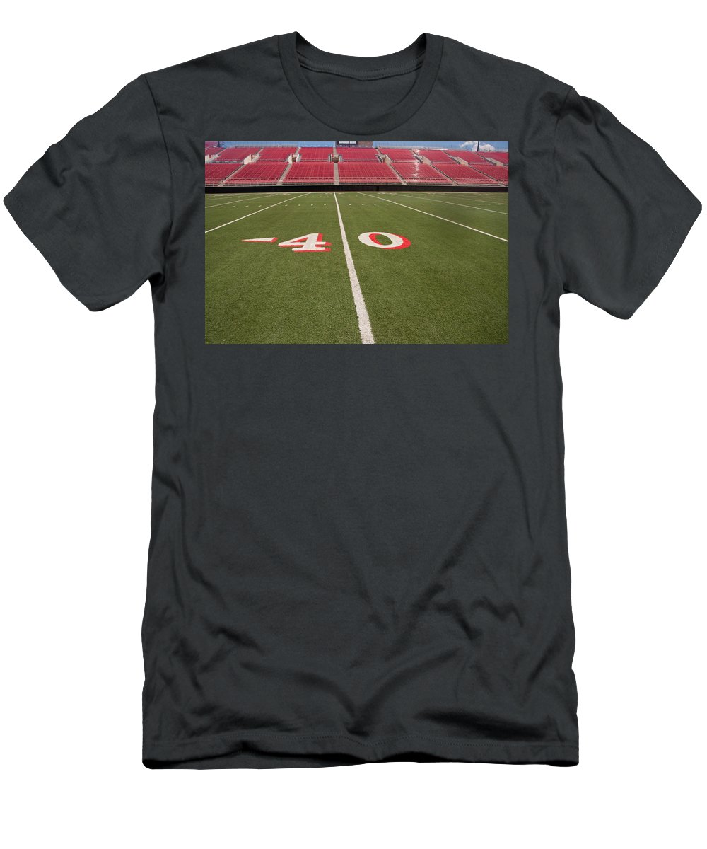 Architecture Men's T-Shirt (Athletic Fit) featuring the photograph Empty American Football Stadium 40 Yard Line by Gunter Nezhoda